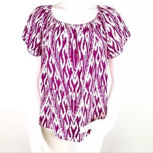 Joie Amesti B Ikat Printed Top Blouse Silk XS Pink